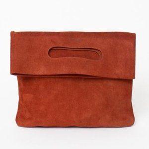 Baggu LPB Clutch in Rust Suede Leather